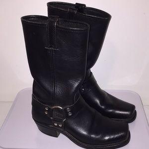 Frye Harness 12R  Black Leather Moto Boot